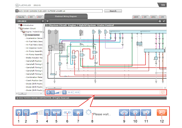 description of the electrical wiring diagram screen